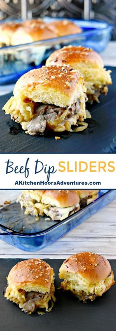 Whether you're feeding the kids or the whole block, these Beef Dip Sliders are easy to prepare and taste scrumptious!  With just a few ingredients you can have these sliders on the table for a light lunch or a party lunch! #sliders #partyfood #beefdip #SundaySupper via @akitchenhoor