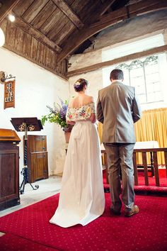 Frances and Rob wedding. Lovely homemade dress with antique tablecloth. Love it.