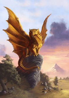 Gold dragon hanging out, waiting for some evil doods to burn. Lion Dragon, Dragon Warrior, Dragon Art, Fantasy Creatures, Mythical Creatures, Mouse Guard Rpg, Fantasy World, Fantasy Art, Dragon Anatomy