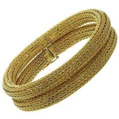 Ilias Lalaounis Pair of Gold Mesh Bracelets Ilias Lalaounis