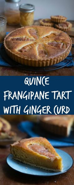 A delicious quince frangipane tart with a layer of ginger curd topped with poached quinces. Perfect for an afternoon snack. Sweet Pie, Sweet Tarts, Baking Recipes, Dessert Recipes, Tart Recipes, Fruit Recipes, Dinner Recipes, Quince Recipes, Quince Ideas