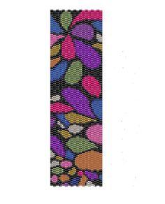 Flower Petals Peyote Pattern -red, green blue and orange flowers peyote cuff pattern