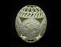 artist and former inmate gil batle has carved more than 20 years of prison life onto ostrich egg shells.
