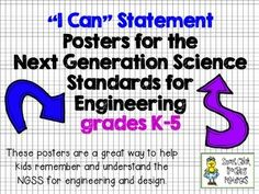 """""""I Can"""" Statement Posters for the NGSS Engineering Standards K-5  FREEBIE"""