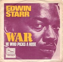 """War"" is a soul song written by Norman Whitfield and Barrett Strong for the Motown label in 1969. Whitfield first produced the song – a blatant anti-Vietnam War protest – with The Temptations as the original vocalists. After Motown began receiving repeated requests to release ""War"" as a single, Whitfield re-recorded the song with Edwin Starr as the vocalist, with the label deciding to withhold the Temptations' version from single release so as not to alienate their more conservative fans."