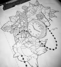 Risultati immagini per pocket watch tattoo design