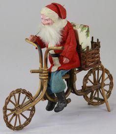 SANTA ON WICKER BICYCLE