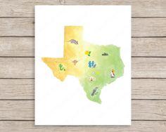 Texas Art Print 8x10 Texas Printable Wall Art by JulesPrintables, $5.00
