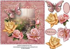 Rose Fantasy on Craftsuprint designed by Mary MacBean - Fantasy scene surrounded by beautiful roses in pastel colours. There is a With Love sentiment or a blank tag for your own message making this card suitable for many different occasions.  - Now available for download!