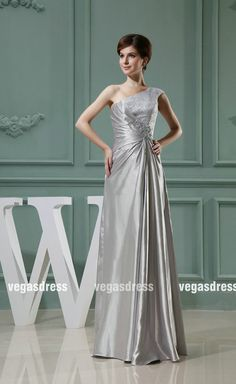 Custom made one shoulder silver lace appliques by vegasdress, $138.99