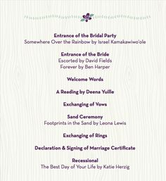 Traditional Wedding Ceremony Timeline Programs Form Lovebirds Custom Goods Adornments