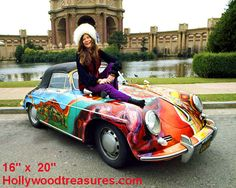 JANIS Joplin PORScHE 356 When Janis purchased this 1965 Porsche 356 Cabriolet second-hand in it was plain old white. She decided that the car needed jazzing up and persuaded her roadie, Dave Roberts, to give it a psychedelic finish. A year later it Janis Joplin, Car Posters, Concert Posters, Grateful Dead, Porsche 356 Convertible, North Carolina, 1964 Porsche, Porsche Cars, Classic Cars