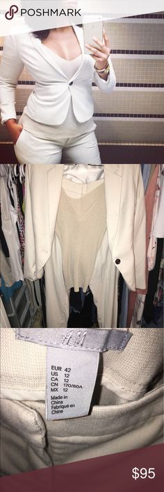 Gorgeous cream 3 piece woman's business suit!😱 Perfect condition worn once! Perfect for a job interview! Do not want to sell😢 I'm modeling in first pic and I'm 6ft 175lbs pants size 12 jacket size 8 top medium H&M Pants