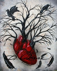 Silent heart- Original tree, heart raven crow, acrylic, spray and oil painting on canvas