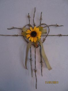Barbed wire Cross with sunflowerFREE SHIPPING by brandypotter