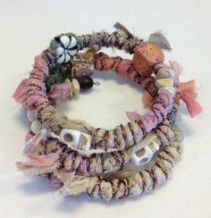Boho Skull Bracelet - Wrapped Bracelet - Sari Silk Ribbon - Gypsy Bracelet - Tan & Pink via Etsy