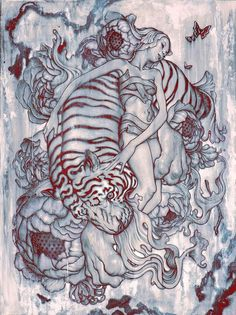 """Tiger III. Acrylic and Charcoal on Paper with Digital Color, 22 x 30"""", 2014 by James Jean"""