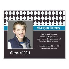 Blue and Brown Graduation Invitation