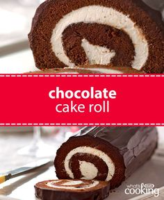 Yule love this easy cake roll recipe with its rich chocolate icing and cream cheese frosting filling. Tap or click photo for this fan-favourite Chocolate Cake Roll Cake Roll Recipes, Dessert Recipes, Recipe For Jelly Roll Cake, Food Cakes, Cupcake Cakes, Cupcakes, Chocolate Roll Cake, Vegan Chocolate, Bon Dessert