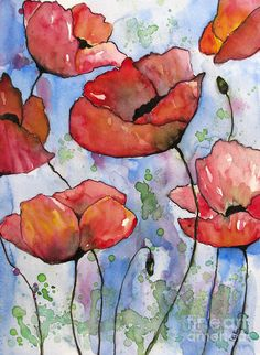 Pink Poppies Painting by Fei Liu - Pink Poppies Fine Art Prints and Posters for Sale