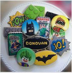 "Tara on Instagram: ""Lego batman!  #Lego #batman #legobatmanmovie #cookieart #cookiedecorating #royalicing #sugarcookies #sugarart #punkyssugarshoppe…"""
