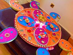 Stunning large mehndi plate, for 4 people to carry.  See www.facebook.com/mehnditraysforfun