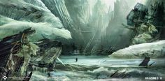 killzone 3 ice wreck concept art miguel bymonje