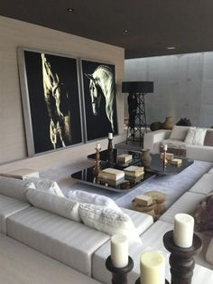 B&W photos in modern living room
