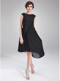 Cocktail Dresses - $141.99 - A-Line/Princess Scoop Neck Asymmetrical Chiffon Cocktail Dress With Ruffle Beading  http://www.dressfirst.com/A-Line-Princess-Scoop-Neck-Asymmetrical-Chiffon-Cocktail-Dress-With-Ruffle-Beading-016021163-g21163