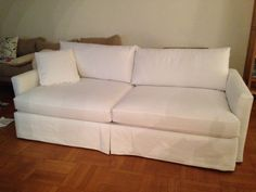 4 Cushion Slip-Covered Sofa with Skirt and Decorative Pillow Slipcover.