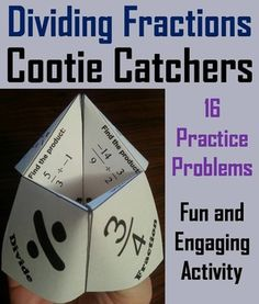 These dividing fractions cootie catchers are a great way for students to have fun while they practice their skills with dividing fractions.  How to Play and Assembly Instructions are included.Dividing Fractions Cootie Catchers Contents: There are 2 cootie catchers in this product, each one having 8 problems for a total of 16 problems.