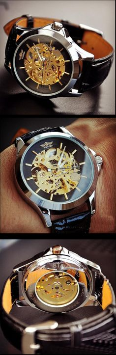 Stan vintage watches — Steampunk Watch For Men, Fashion Gold Leather Automatic Mechanical Watches (M104-BLACK)