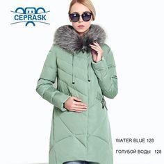 Winter Women's Coat Plus Size Hooded Fashion Warm Women Down Jacket Biological-Down Female Parkas Ceprask