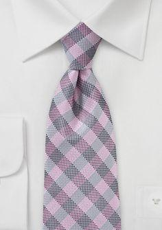 Corbata gris rosa cuadros 10€