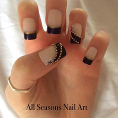 Purple and Gold Nail Art for Prom #promnails