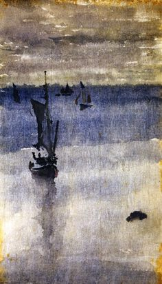 The Athenaeum - Sailboats in Blue Water (James Abbott McNeill Whistler - circa James Abbott Mcneill Whistler, Watercolor Landscape, Watercolor Paintings, Watercolour, American Impressionism, Impressionist Art, Blood Art, Vintage Fairies, Caravaggio