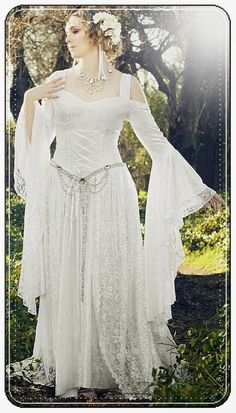 White Medieval Wedding Dresses
