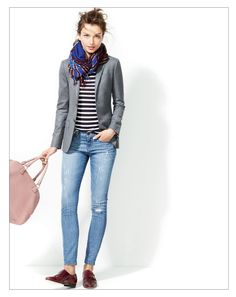 jcrew / fall uniform: stripe tee + blazer + skinny jeans + loafers + scarf / casual / polished / campus