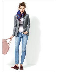 jcrew / fall uniform: stripe tee + blazer + skinny jeans + loafers + scarf / casual / polished / campus