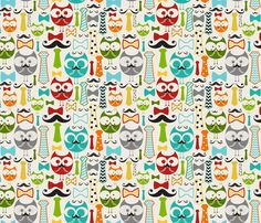 Working Owls fabric by natitys on Spoonflower - custom fabric For Finlay with a green minky back.