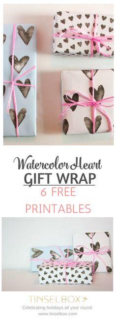 Free Printable Watercolor Heart Gift Wrap