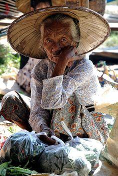 Inle Lake: Old Woman Portrait