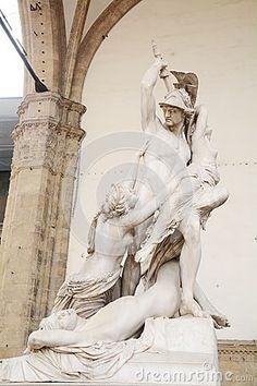 Rape of Polyxena sculpture by Pio Fedi in Piazza della Signoria, in Florence, Italy, Europe