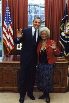 """Actress Nichelle Nichols, who played Lt. Uhura on """"Star Trek"""" in the 1960s, on Tuesday tweeted a photo she took in February with the one-time """"Trekkie"""" who now occupies the Oval Office.    """"Months ago Pres Obama was quoted as saying that he'd had a crush on me when he was younger. I asked about that & he proudly confirmed it!"""" Nichols tweeted on Feb. 29.    She followed up Tuesday with a tweet of the photo from the White House visit showing Nichols and Obama giving the Vulcan Salute. 4-4-12"""