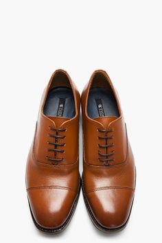 TIGER OF SWEDEN Brown Leather Jones Oxfords