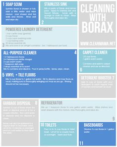 Enlist the help of Borax to get the job done. From flooring to cleaners, this one is a must! Via Clean Mama