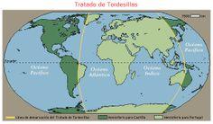 Tratado de Tordesillas que divide los territorios de España y Portugal