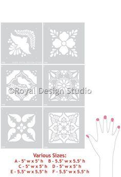 Mexican Tile Talavera Furniture Stencils by royaldesignstencils