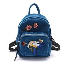 Embroidered back pack teal