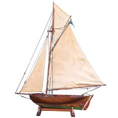English Pond Yacht, 1900 | From a unique collection of antique and modern nautical objects at http://www.1stdibs.com/furniture/folk-art/nautical-objects/